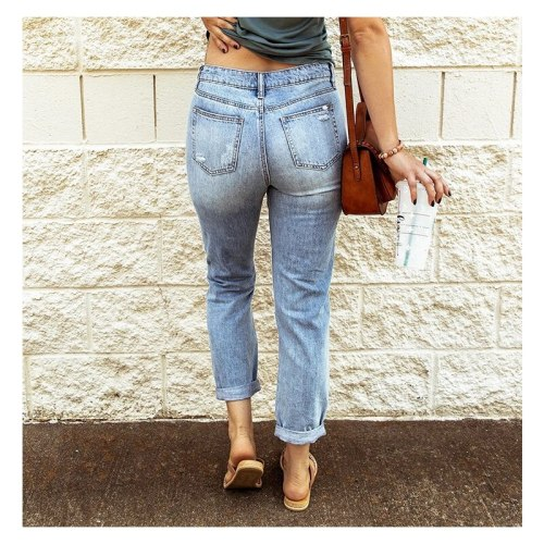 Ripped Jeans Trousers Women's Pants Casual Streetwear Fashion Sexy Ladies