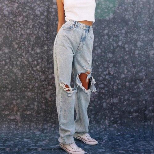 Casual Jeans Woman Ladies Streetwear Ripped Pants Women Trousers