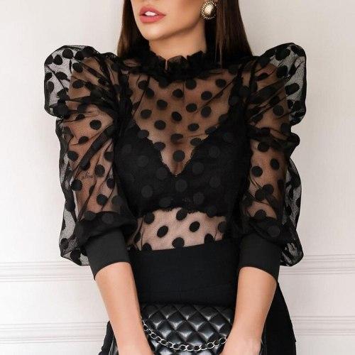Women T shirt Fishnet Long Sleeve Top Women Sexy Top