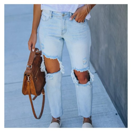 Women's Denim Trousers Ripped Vintage Jeans Summer Casual Fashion Women Pants