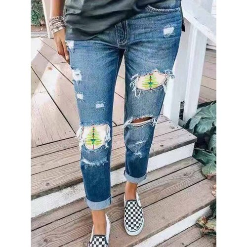High Waist Street Jeans Women's Jeans Ripped Leggings Ripped Pants Trousers