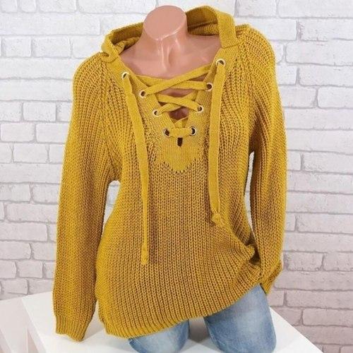 Women's Knitted Sweaters Hooded Sweaters Plus Size Casual Female Knitwear Sweaters