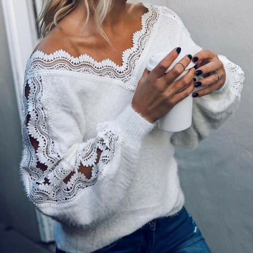 Women's Sweaters V-neck Loose Fashion Female Sweater Blouse Sexy Clothing
