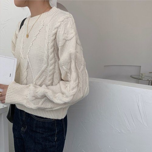 Women's Sweaters Elegant Oversize Vintage Short Knitted Lady Jumpers