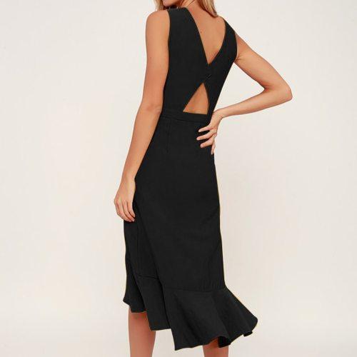 Long Dress Women V-Neck Sleeveless Ruffles Midi Dress Ladies Party Maxi Long Dress