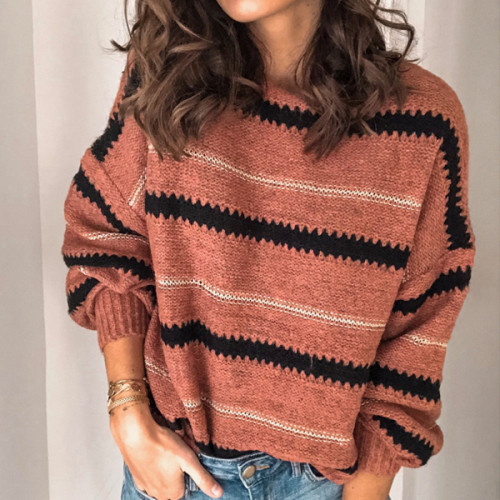 Women Long Sleeve Sweater Loose Fashion Patchwork Sweater Sexy Tops Female