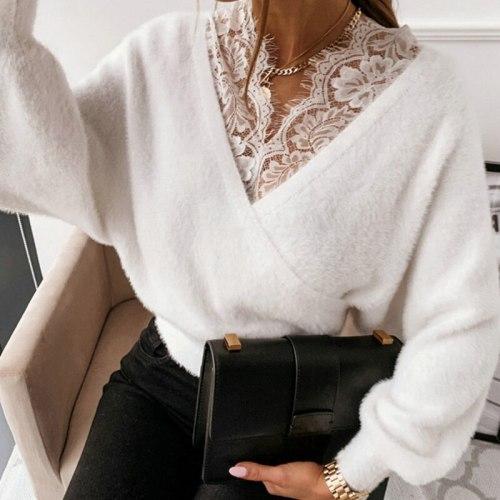 Lace Deep V-Neck Women Sweater Long Sleeve Elegant Ladies Casual Female Top
