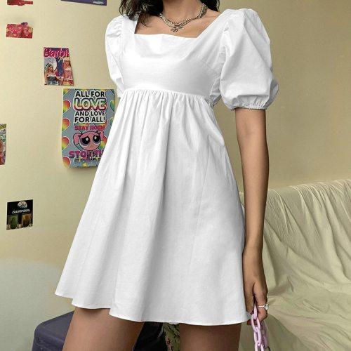 Summer Fashion Elegant Puff Sleeve Party Dress Vacation Casual Mini Dress