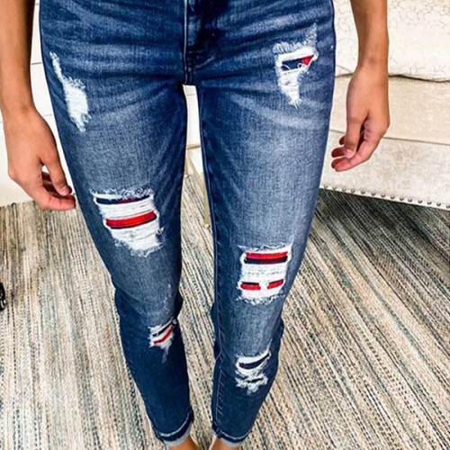 Streetwear High Waist Ripped Leggings Jeans Pants Woman Ripped Jeans Casual Trousers