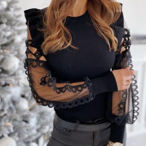 Women's Sweater O-neck Ruffles Shoulder Long Sleeve Casual Female Wear Fashion