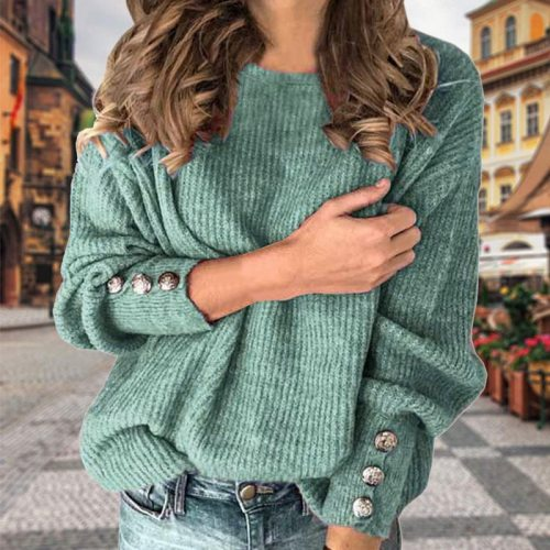 Women Sweater Fashion Solid Color Long Sleeve Knit Casual Women Sweater Plus Size