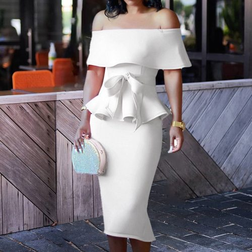 Off Shoulder Top Skirt Two Piece Set Women Sexy Party Evening Club Elegant