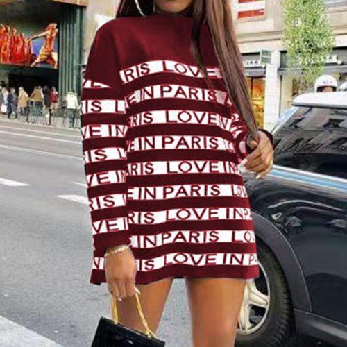 Women Casual Mini Loose Dress Long Sleeve Fashion Spring Autumn