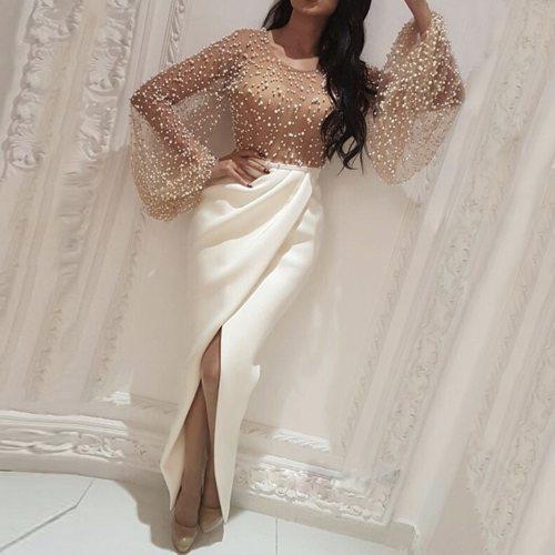 Dress Fashion Thin Split Round Neck Flared Sleeves