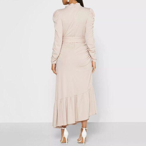 Elegant Women Long Dress Solid Long Sleeve Female High Waist Dresses