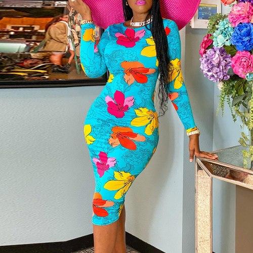 Womens Dress Long Sleeve Bodycon Round Neck Vintage Midi Dress