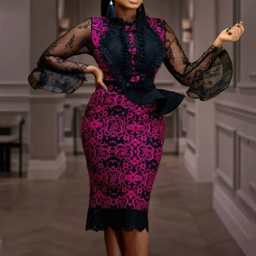 Vintage Dress Sexy Bodycon Women Party Office Dress