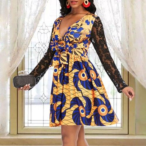 Lace Long Sleeve Dress Sexy V Neck High Waist Ladies Plus Size Casual Mini Dresses