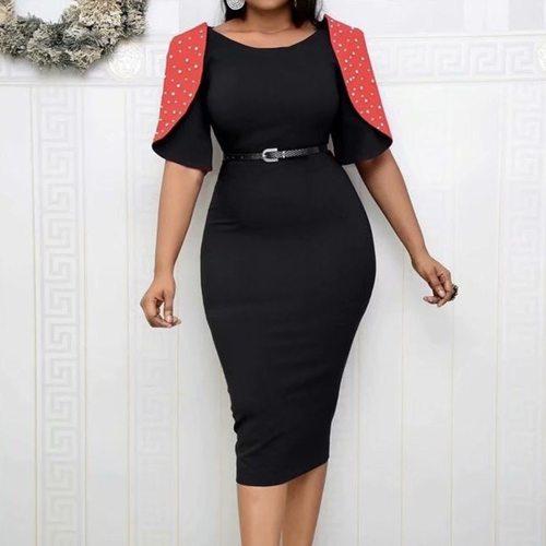 Plus Size Dress Lady Elegant Summer Short Sleeve Party Bodycon Midi Dress