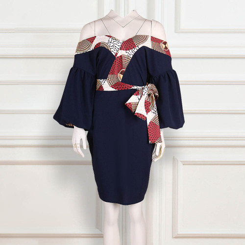 Mini Dress Women Off Shoulder Sexy High Waist Female Casual Dress Plus Size