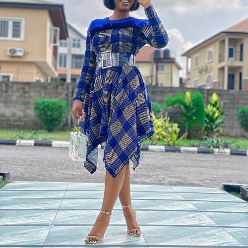 Women Irregular High Waisted Long Sleeve Office Ladies Ruffle Fashion Midi Dresses