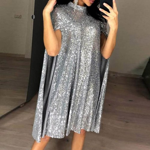 Sequin Mini Dress Women Fashion Sexy Sleeve Girl Party Simple Lady