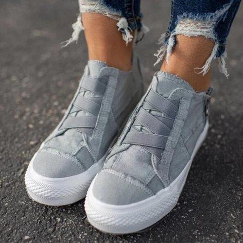 Women's Sneakers Flat Platform Women Canvas Shoes Elastic Band Comfortable Casual Female Vulcanized Shoes Zipper Ladies