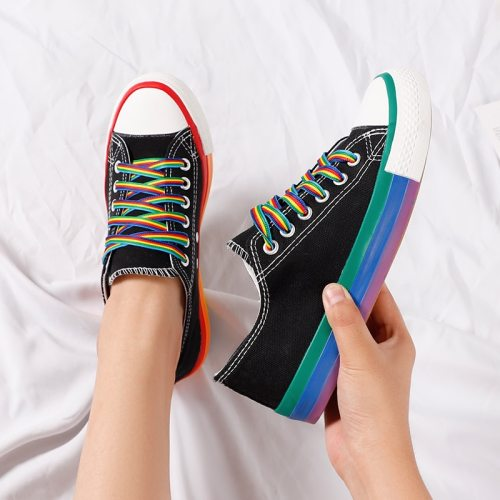 Women Vulcanized Shoes Canvas Sneakers Summer Candy Color Rainbow Female Platform Walking Ladies Flat