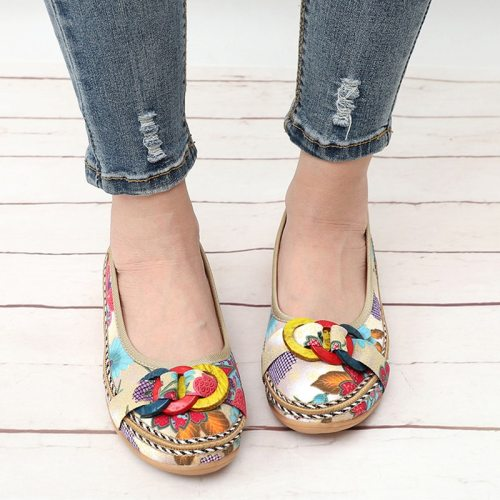 Women Slip On Summer Autumn Flat Shoes Ladies Ethnic Fabric Straw Flower Casual Platform Loafers Fashion Shoes