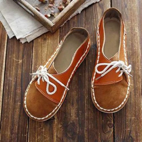 2020 Retro Lace up Non slip Casual Women Flats Slip on Half Drag Round Toe Women Flats Spring Autumn Sneakers Shoes