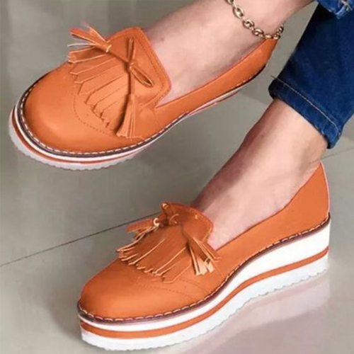 Women Loafers Platform Woman Slip On Sneakers Tassel Bowtie Women's Soft PU Leather Sewing Flat Shoes