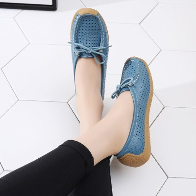 Women Shoes Genuine Leather Flat Loafer Ladies Slip Up Sewing Ladies Shoes Female Shallow Casual  Woman Shoes Plus Size
