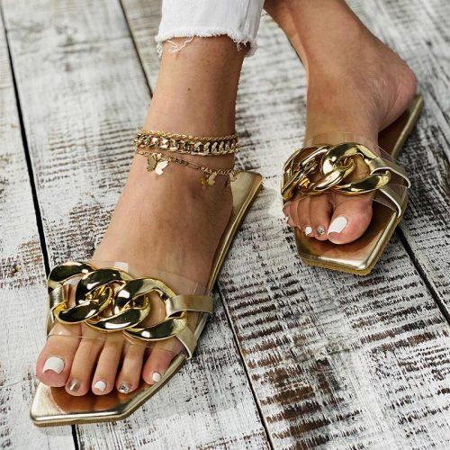 Summer Women's Slippers Flats Metal Chain Ladies Slides Square Toe Flip Flops Woman Beach Slipper Slip On Female Shoes