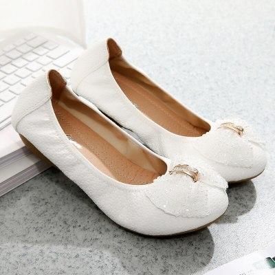 Spring Rhinestone Bow Flat Bottom Fashion Flat Heel Shallow Mouth Working Women'S Shoes Single Shoes