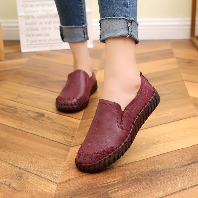 Soft Bottom Women Flats Genuine Leather Mother Shoes Comfort Oxford Shoes For Women Shoes Women Loafers Moccasins Plus Size 42