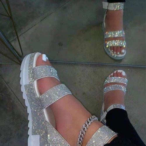 Women Sandals Rhinestone Crystal Shoes Wedge Platform Ladies  Summer Fashion Outdoor Female Fashion 2021 New Sandals