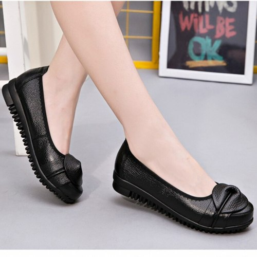 Black Round Toe Shoes Ladies Spring And Autumn Soft Bottom Women'S Shoes Work Flat Leather Shoes
