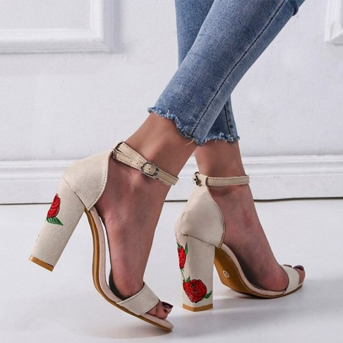 Women's Sandals Summer Peep Toe Female Ankle Strap High Heels Woman Pumps Party Shoes Sexy Ladies Print Flower Shoes