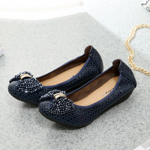 Spring Rhinestone Bow Flat Bottom Fashion Flat Heel Shallow Mouth Working Women'S Shoes Single Shoes