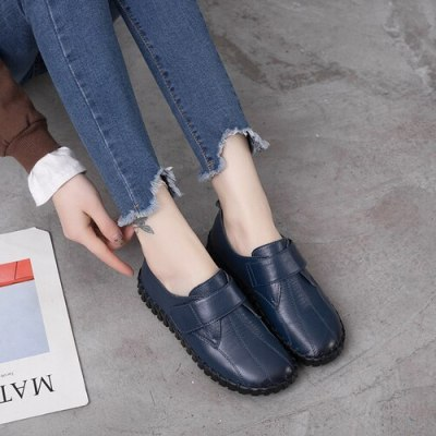 Spring Ladies Genuine Leather Handmade Shoes Women Hook &Loop Flat Shoes Women Autumn Soft Loafers Flats