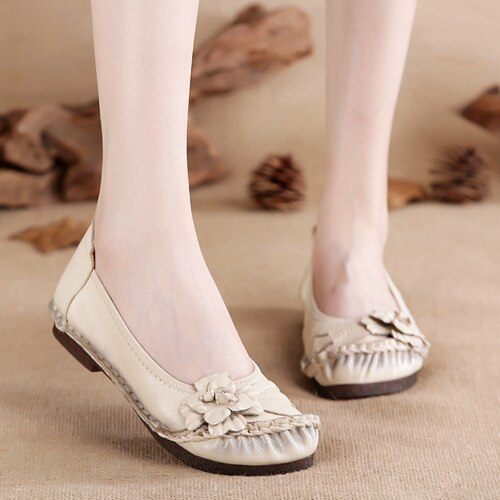 Spring New National Style Women'S Shoes Retro Handmade Flowers Single Shoes Flat Heel Soft Bottom Women'S Shoes