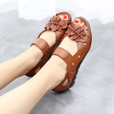 Sandals Ladies Summer Leather Soft Bottom Fish Mouth Shoes Flat Heel Flat Bottom Hollow Women'S Shoes
