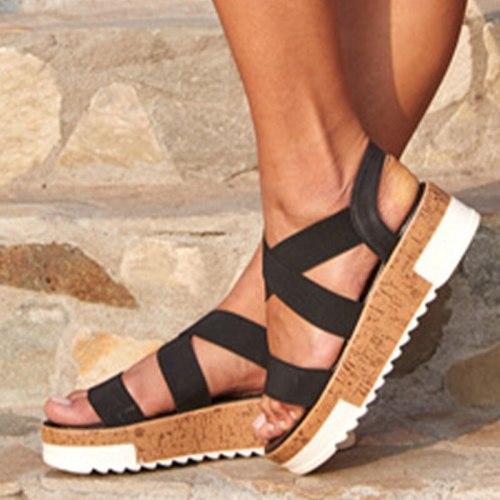 Women's Sandals Summer Ladies 2021 Flat Platform Shoes Slip On Female Retro Beach Shoes Casual Plus Size 43 New Fashion