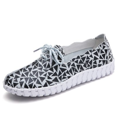 Spring Women Flats Loafers Shoes Genuine Leather Flats Female Shoes Lace Up Loafers Casual Slip-on Walking Shoes Woman