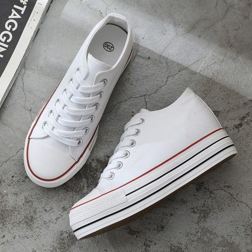 6 cm High Platform Fashion Canvas Shoes Women Increase Thick Soles Ladies Breathable Casual Sneakers Low-top Leisure Comfort