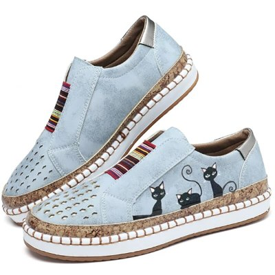 2021 New Sneakers Women Cute Print Flat Vulcanized Shoes Slip On Hollow Out Canvas Casual Comfort Female Shoes Plus Size