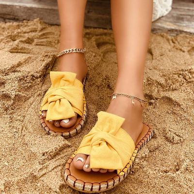 Women's Beach Slippers Casual Sewing Ladies Flat Shoes Summer 2021 Bow-knot Female Sandals Comfortable Elegant Woman Shoes New