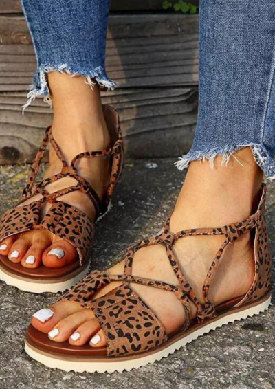 Women Flat Sandals Leopard Cross Tied Zipper Casual Beach Shoes Summer Retro Sandals Plus Size Comfort Female Sandal 2021