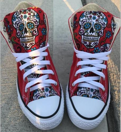 Women Flats Casual Shoes Woman Plus Size Canvas Fabric High-Top Boots Skull Shoe Chaussures