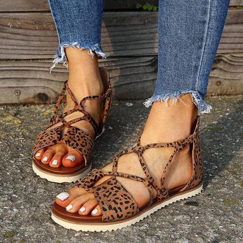 Women Flat Sandals Leopard Cross Tied Zipper Casual Beach Shoes Summer Retro Sandals Plus Size Comfort Female Sandal 2021